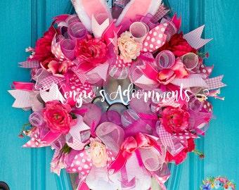 Easter Wreath, Mesh Spring Wreath, Mesh Summer Wreath, Bunny Wreath, Floral Wreath, Spring Wreath, Summer Wreath, All Seasons Wreath