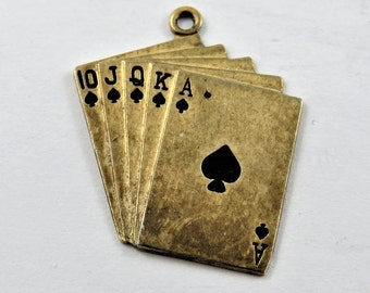 Royal Flush of Spades Sterling Silver Charm of Pendant.