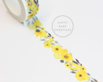 Yellow Floral Washi Tape, 15mm x 7m, 7.6yds, Floral Washi Tape, Spring Washi, Decorative Tape, Yellow Washi, Yellow and Black, Washi Tape