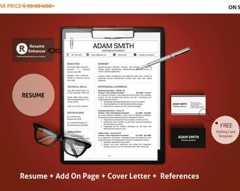 Posting Resume Online Minimalist Resume  Etsy Resume For Police Officer Excel with Athletic Trainer Resume Pdf Minimalist Resume Template Cv Template Resume Template Addon Page Extra Resume Spelling Pdf