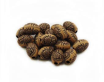 Oval Brown Wood Beads, Painted Brown Wood Beads, 11x8 Brown Wood Beads, 10pcs Painted Brown Wood Beads, Wooden Beads, Jewelry Making