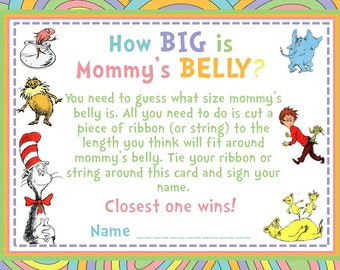 Dr. Seuss How Big Is Mommy's Belly? Baby Shower Game