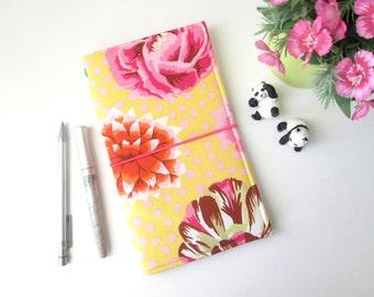 Regular Size Fauxdori : Midori notebook fabric cover, Flowery pattern