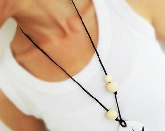 Long necklace bohemian jewelry gipsy jewelry cold porcelain jewelry hand sculpted jewelry gift for her simple jewelry minimalist necklace