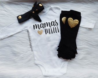 Baby Girl Clothes, Mommy and Me, Mommy's Girl, THE ORIGINAL Mama's Mini™, Leg Warmer Set, Gold Glitter Bodysuit, New Baby Gift