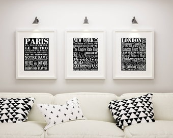 Subway Artwork Wall Art, Kitchen Subway Art, Subway Sign, Paris, New York, London, Framed Wall Art, 3 Print art Set