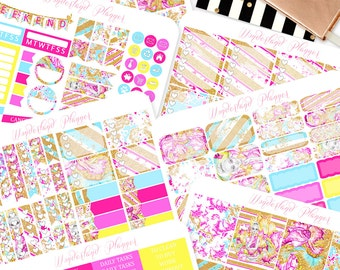 The Glitterati - Neon Glitter Themed Planner Sticker Weekly Kit // 180+ Stickers // Perfect for Erin Condren Vertical Life Planner