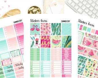Summer 2017 Watermelon Flamingo // Printable Planner Stickers // Weekly Planner Sticker Kit // Erin Condren MAMBI Happy Planner // PDF Files