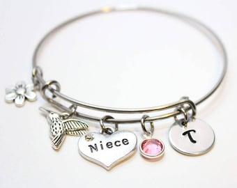 niece bracelet, niece bangle, niece jewelry, niece initial bracelet, niece gift, niece charm bracelet, personalized niece jewelry, niece