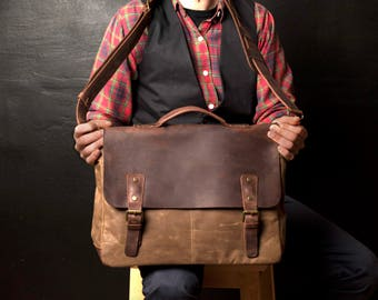 Mens Leather Briefcase, Waxed Canvas Courier Bag, Canvas Briefcase, Mens Courier Bag