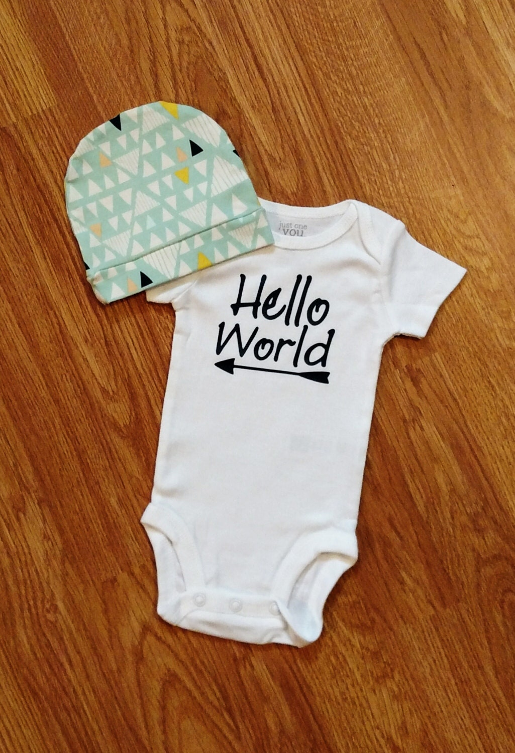 Hello World Baby Boy Coming Home Outfit Bodysuit Baby Hat