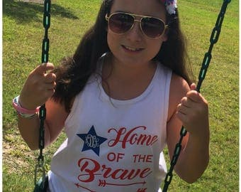 Fourth of July Shirt. Home of the Brave Girls Initialed Tank with Arrows. Red, White, and Blue Tank. Girls Independence Day Initialed Shirt