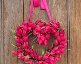 Tulip Wreath, Spring Wreath, Heart Wreath, Pink Tulip Wreath, Valentine's Day Wreath, Valentine's Decor, Valentine's Day wreath, Front Door