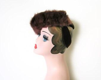 Vintage 1940's Dark Brown Wool/Fur Tilt Hat~