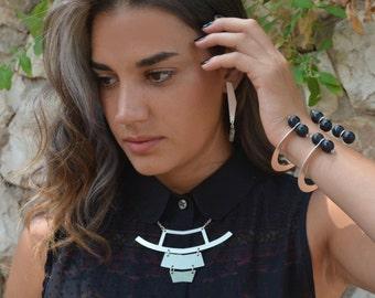Geometric Short Necklace, Simple Silver Necklace, Layered Necklace,Silver Everyday Necklace, Minimal Necklace, Silver Statement Necklace