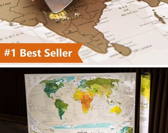 "Push Pin Travel Map – Scratch Off World Map Wall Poster with Push Pins 34.6"" x 23.6"""