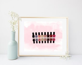 Nail Polish Print, Fashion Print, Watercolor, Make Up Print, Printable Wall art,  Instant Download, girls Room Decor