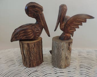 Two Hand Carved Wood Pelicans Vintage