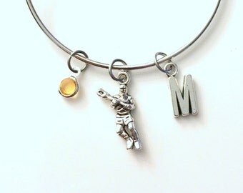Lacrosse Bracelet, Player Jewelry Charm Bangle Team Mom Silver crosse Stick initial Gift for Teenage Daughter Teen Girl birthstone Sport
