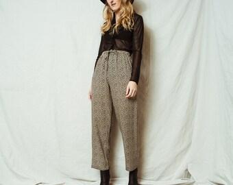 Rad Vintage Flowy Leg Floral Pants / S / 90s hipster black and beige flower trousers flowy boho pants