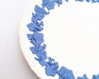 Wedgwood Lavender Blue on White Embossed Queensware Saucer