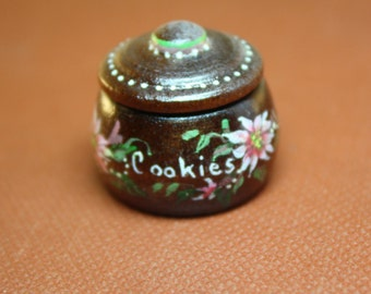 Dollhouse Miniature Vintage Hand Painted Cookie Jar (1/12 Scale)