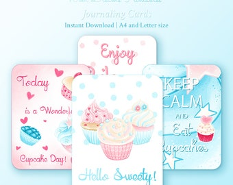 Delicious Cupcakes Journaling Cards, downloadable Art, set of cards, project life cards, scrapbook supplies, inspirational