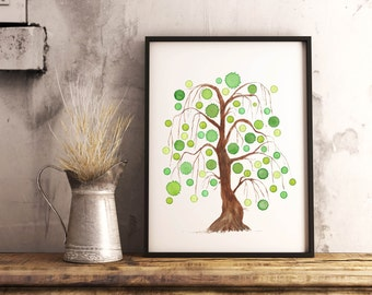 willow tree watercolor print tree of life painting abstract watercolor tree living room art print whimsical nature wall art green watercolor
