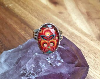 Flower Ring Red Flower Ring Bohemian Ring Adjustable Ring Spring Jewellery Summer Jewellery Statement Ring Silver Plated Womens Ring SPR31
