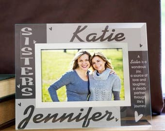 Personalized Sisters Glass Photo Frame - Sisters Photo Frame - Sisters Picture Frames - Sister Gifts - Custom Glass Frames - Gifts for Her
