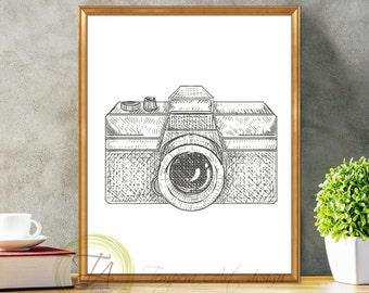 Camera Print, Black and White Camera, Art Decor Camera