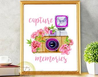 Capture Memories, Camera Print, Printable Memories Quotes, Watercolor Camera Art, Printable Camera, Camera in Peonies, Floral Camera Print