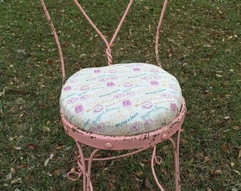 Shabby Chic  Vanity Stool, Wrought Iron Parlor Chair, Vanity Chair, Chair, Pink, Spring, Mother's Day Gift