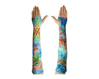 Arm sleeves 'Ancestral Ornament. 2 Trippy arm warmers. Psychedelic fingerless gloves. UV active arm sleeve, rave wear, festival hand warmers