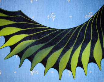 Hand knit black green scarf shawl wing shape knitted from multi coloured yarn,Wearable Art Wrap, Unique Gift, shawl Wingspan Dreambird