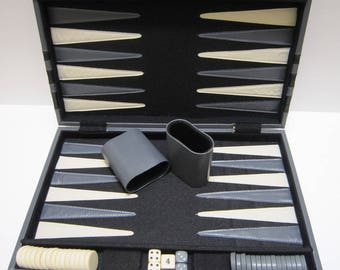 Backgammon Set Travel Backgammon in Faux Leather Case 10x15 Ivory & Gray Pieces Dice Cup Vintage Board Games Travel Board Game Room Decor