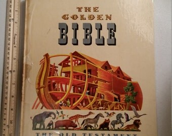 "vintage the golden book bible 1962 old testament illustrated deluxe edition by golden press - feodor rojankovsky 12""x10"" stories bibical"