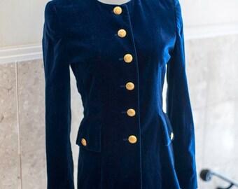 Escada Blazer Velvet Navy Blue 1980s Margaretha Ley Gold Buttons