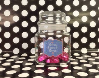 Home Sweet Home~Glass Jar~Sealed Top~Embroidery Pattern~Pink~Blue~Hearts~Home