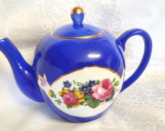 Vintage Russian  tea pot. 1937 year, Gold plated cobalt