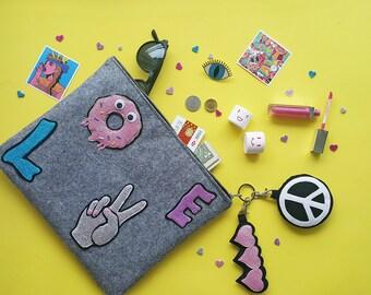 Funny Love Sign Felt Clutch & Handbag ,Small Felt Bag. Felt Makeup Bag. Cosmetic Bag. Glitter Bag, Crossbody Bag ,Peace Sign Keychain,