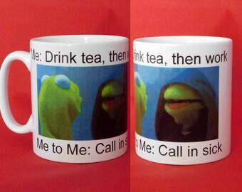 Kermit drinking tea | Etsy