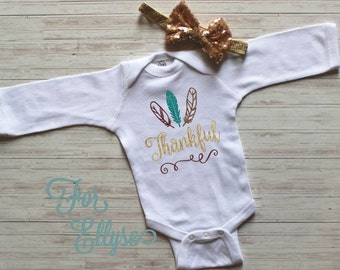 Thanksgiving baby girl outfit - one piece newborn Fall Thanksgiving bodysuit layette