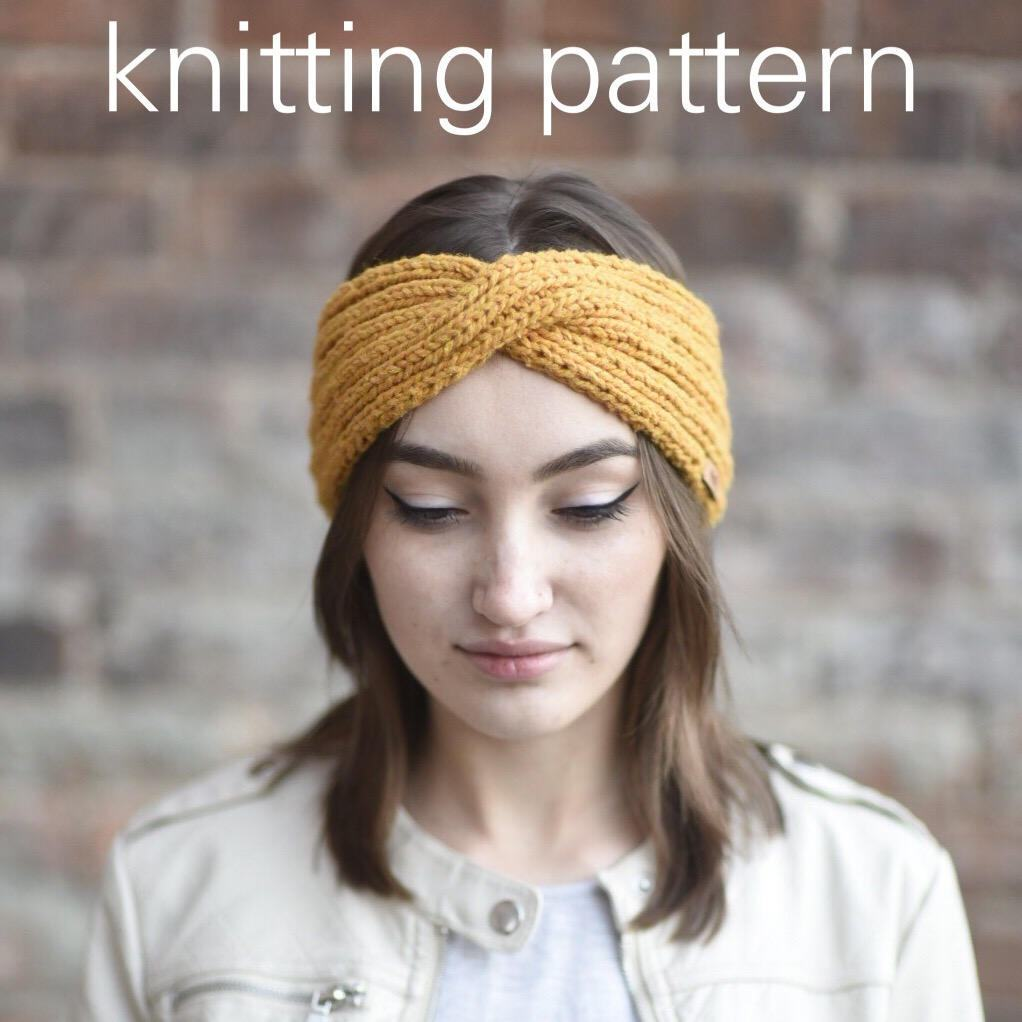 Knitting pattern twisted turban headwrap mustard yellow knit this is a digital file bankloansurffo Images