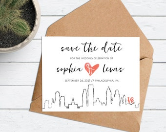 Custom City Skyline Invite - Philadelphia Save the Date Philly - Modern Simple City Skyline -Watercolor Heart -Save the Date -Skyline Invite