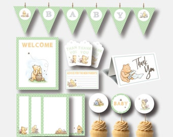 Winnie The Pooh Baby Shower Party Pack | Classic Winnie The Pooh Party Decor | Instant Download | Winnie The Pooh Baby Shower Bundle |