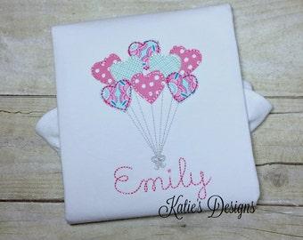 Heart Balloons Applique Shirt, Heart Applique, Balloon Applique, Girls, Girls Shirt, Applique Shirt, Personalized, Monogrammed, Embroidered