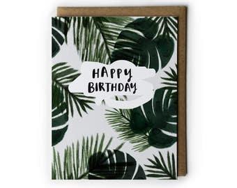 A6 tropical birthday card