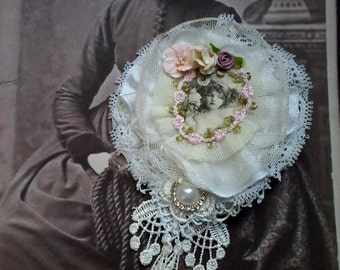 tattered shabby handmade vintage portrait brooch, handmade lace brooch, unique romantic gift,