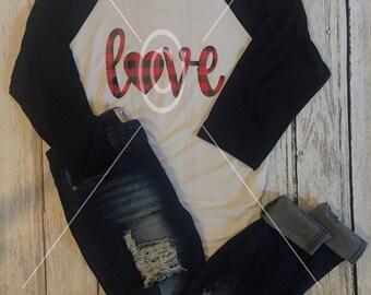 Ladies Red Plaid Love Shirt White and Black Raglan